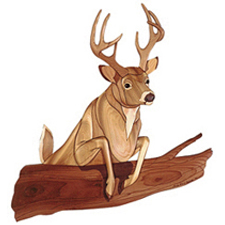 Red Deer Fasteners >> White Tail Buck Deer Jumping Log Intarsia Pattern   WORKSHOP SUPPLY