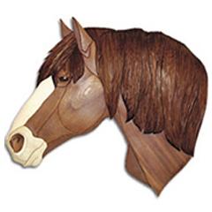Draft Horse Head W Blaze Intarsia Pattern Workshop Supply