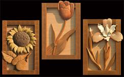 Sunflower Tulip And Iris Intarsia Pattern Workshop Supply